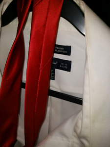 Big, white, executive dress shirt with red tie