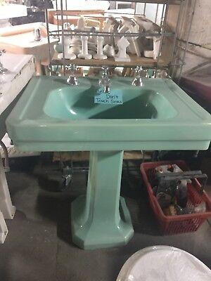 Mid Century Pedestal Green Sink Vintage Porcelain Sink