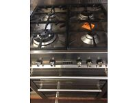 Smeg cooker 70 cm stain less steel duel fuel top gas grill and fan oven electric full working