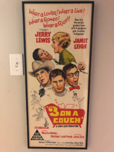 Vintage movie poster 1960s Jerry Lewis Three on a couch