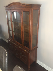 French Provincial Glass Display Buffet and Hutch $100 ONLY!