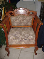 Lovely antique 1800's large parlor chair with inlay