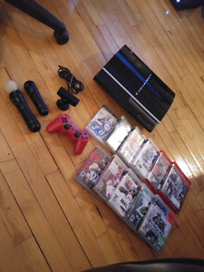 PS3 with Playstation Move and 11 games 175$