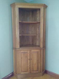 Solid Red Oak Corner Cabinet