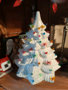 Two vintage ceramic Christmas lighted tree