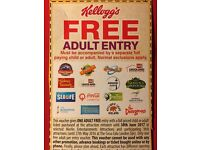 FREE ADULT ENTRY - Alton Towers, Thorpe Park, Chessington, The Dungeon, Madame Tussads etc.