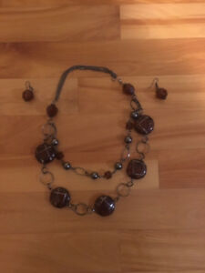 Moroccan Brown Fashion Necklace and Earrings Set