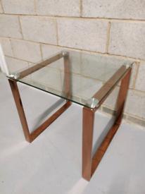 Wayfair Dilsen Rose Gold & Glass Geometric Modern Side End Table