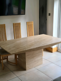 Travertine dining table & 6 chairs