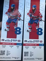 BILLETS à 250$ ! Blue Jackets VS Canadiens ! Zone bouffe incluse