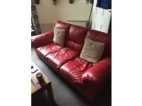3 seater Enzo red leather sofa