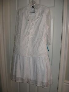 ladies 2pc white lace lined skirt and top size 12-14