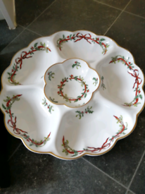 Royal Worcester Party plate. Holly Ribbons design.