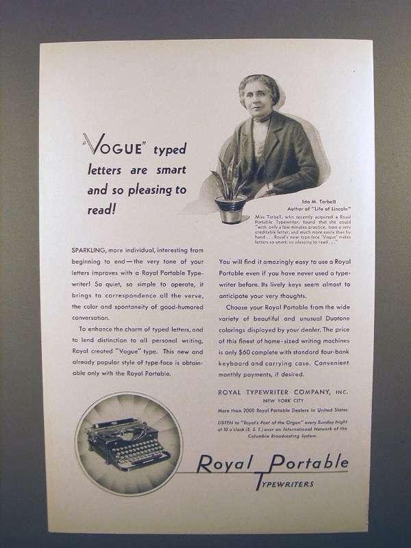 1931 Royal Portable Typewriter Ad - Ida M. Tarbell
