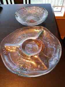 Crystal bowl and chip platter