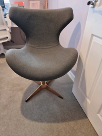 Grey and rose gold swivel chair for office or dressing room