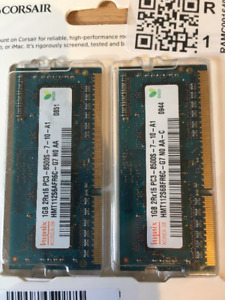 Mac Ram 2 pieces of 1 gig pc3 1066 used