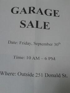 GARAGE SALE OUTSIDE 251 DONALD STREET
