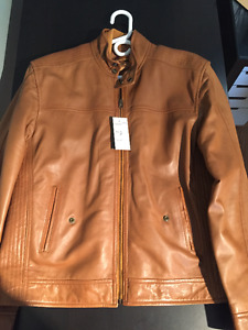 Brand New Ocean West Cognac Leather Jacket, size 46