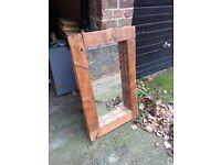 Vintage reclaimed solid wood mirror