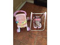 Fisher price baby walker/ stroller n doll Graco swing