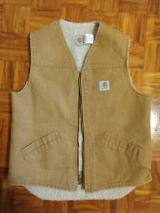 Carhartt Men's Duck Brown Sherpa Lined Vest Large Tall
