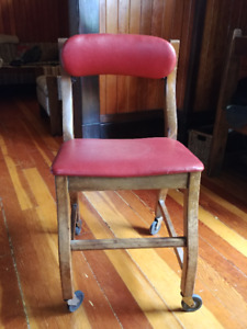 Red leather & wood antique chair (on wheels)