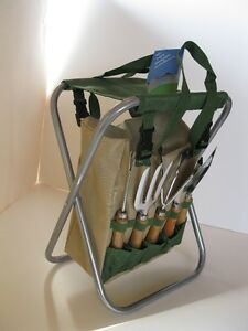 New Garden Tool 7 Piece Set with Folding Stool & Storage Bag