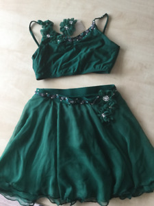 Custom made lyrical dance costume, emerald green with crystals