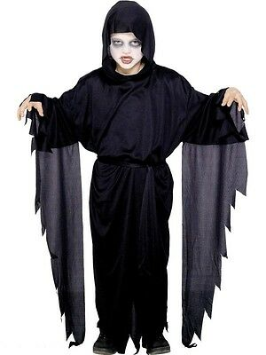 Kids Halloween Fancy Dress Screamer Ghost Ghoul Black Robe Kids World Book Fun