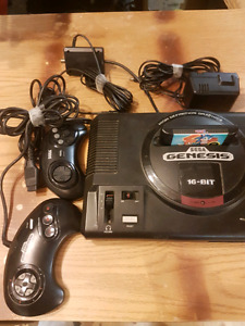 Sega Genesis with controllers and game