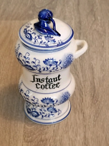 Vintage Blue Onion Coffee Container