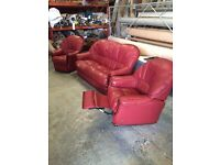 Red 3 piece leather Suite with Recliner