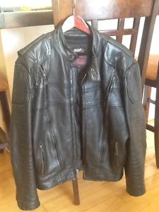 Leather riding coat