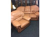 Leather sofa and chair can be delivered