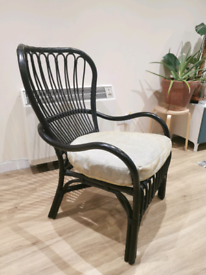 Black bent wood lounge chair (cushion included)