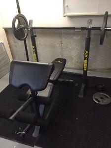 Bench Press, Squat Rack, Leg Extensions