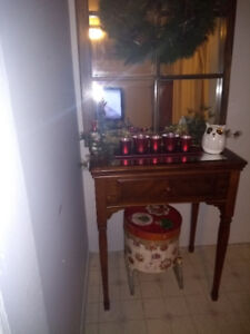 Antique mirror with hall table