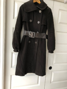 MACKAGE wool/cashmere leather belted coat small
