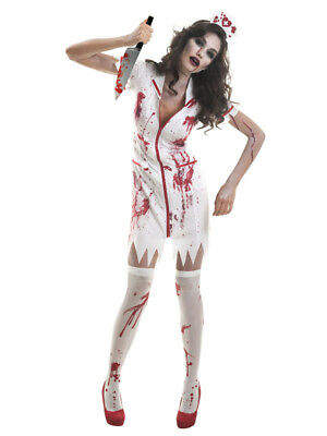 Womens Zombie Nurse Uniform Halloween Fancy Dress Costume + Hat Horror Outfit