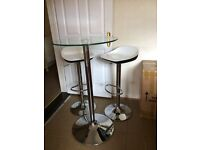 Glass Bistro table & 2 stools