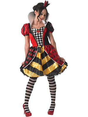 Queen Of Hearts Outfit (Adult Queen Of Hearts Outfit Fancy Dress Costume Storybook Ladies Book Week)