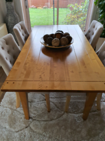 Contemporary large 6 seater real birch wood dining table NEXT