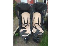 Hauck roadstar duo twin buggy pram black beige stroller