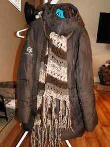 manteau extérieur hiver femme, taille médium, COULEUR BRUN CHOCO