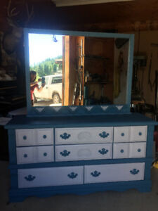 Blue and Light Grey Dresser with Mirror