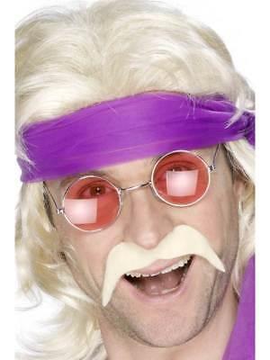 Schnurrbart 70er Jahre (Blond 70er Jahre Tash Kostüm 70's Groovy Disco Dude Selbstklebend Schnurrbart)