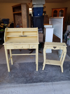 Child's Desk With Matching Side Table
