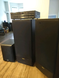 Tower Speakers and Receiver with Sub Woofer