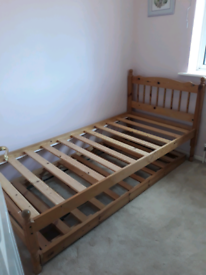 Single bed with trundle pull out guest bed with 2 mattresses